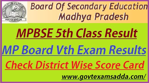 MP Board 5th Class Result 2019