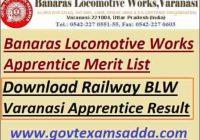 Railway BLW Varanasi Apprentice Result 2021