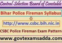 CSBC Police Fireman Exam Syllabus 2021